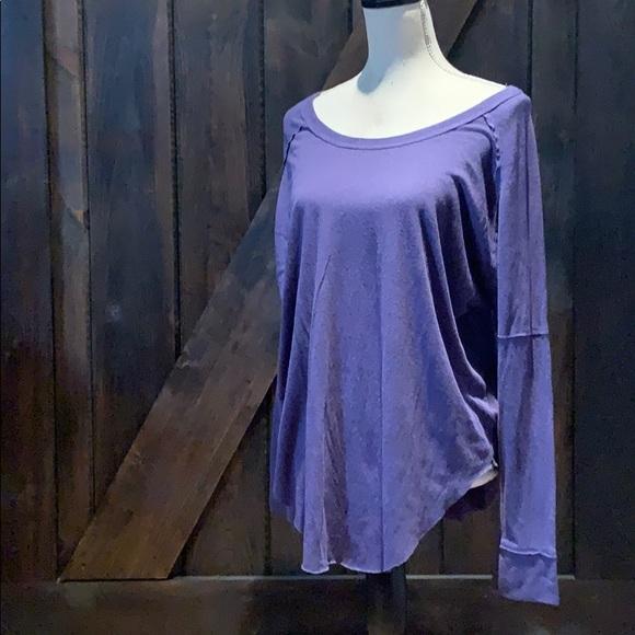 TNA purple drop shoulder top